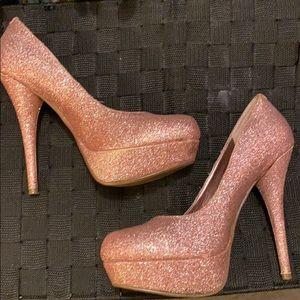 Bakers light pink sparkle heels
